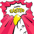 Happy Easter card with a wing a cock, golden egg and text cloud. Comics style