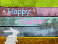 Happy easter with chalk bunny