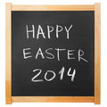 Happy easter chalk handwritten on classic blackboard Royalty Free Stock Photography
