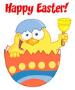 Happy easter chick in an shell ringing a bell Stock Photos