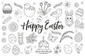 Happy Easter collection object, design element. Hand drawing, outline style. Easter coloring page set. Vector