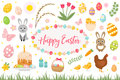 Happy Easter collection object, design element. spring set with cake, basket, eggs, bunny, flowers, nestlings and more