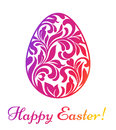 Happy Easter. Colorful Easter egg made of swirls and floral elem
