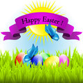Happy easter colorful eggs lie on the grass Stock Photography