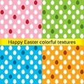 Happy easter colorful eggs seamless textures collection vector set of painted patterns decoration pink blue orange green Stock Photography