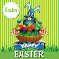 Happy easter colorful illustration with a blue bunny holding a basket with painted eggs concept Stock Photos