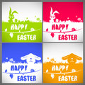 Happy easter colorful vector illustration cards Set with the big-eared rabbits and chicken silhouettes on the meadow