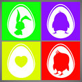 Happy easter colorful vector illustration cards Set with rabbit, chicken and heart silhouettes in egg