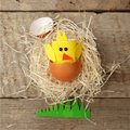 Happy Easter concept. paper craft chicken and eggs. Traditional easter home decor nordic shabby scandinavian style, springtime