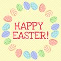 Happy Easter. Cute inscription in a wreath of easter eggs