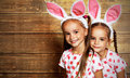 Happy easter! cute twins girls sisters dressed as rabbits on wo