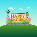 Happy easter day landscape nature colorful background design vector