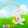 Happy easter easy to edit vector illustration of bunny with egg Stock Photos