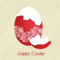 Red broken egg decorated - Easter card - vector