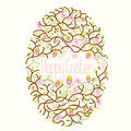 Happy easter egg floral decoration vector illustration Royalty Free Stock Photography