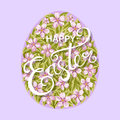 Happy Easter egg with flowers