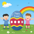 Happy Easter Egg with Kids Royalty Free Stock Photography