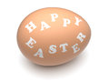 Happy easter egg words engraved on hen s eggshell clipping paths included Royalty Free Stock Photo