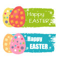 Happy Easter and eggs with flowers, drawn labels