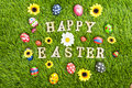 Happy Easter eggs on grass horizontal Royalty Free Stock Photos