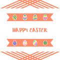 Happy easter eggs icons set with ribbon background