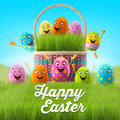 Happy easter eggs merry d set spring series happy cartoon objects easter banner postcard Royalty Free Stock Photos