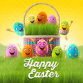 Happy easter eggs merry d set spring series happy cartoon objects easter banner postcard Royalty Free Stock Photo