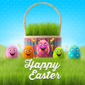 Happy easter eggs merry d set spring series happy cartoon objects easter banner postcard Royalty Free Stock Images