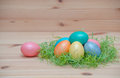 Happy easter eggs pastel colored in a nest with on the vintage wooden background Royalty Free Stock Photography