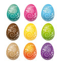 Happy easter eggs set colorful collection Stock Photo
