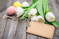 Happy easter eggs and tulips with a tag on wooden background Stock Image