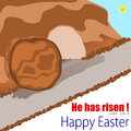Happy easter empty tomb illustration for bible message Royalty Free Stock Photography
