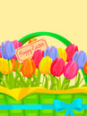 Happy Easter Festive Vector Concept with Tulips Royalty Free Stock Photo