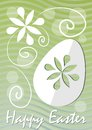 Happy Easter fine green wavy background with easter egg paper cut and white floral motif. Template for postcard