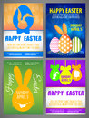 Happy easter Flyer templates Set with silhouettes of rabbit, big - eared bunny Royalty Free Stock Photo