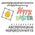 Happy Easter - font. Vector alphabet.Hand Lettering script font. Typography alphabet for Designs- Logos, Packaging