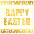 HAPPY EASTER. Golden decorative Font made of swirls and floral elements on a white background with eggs. Floral border.