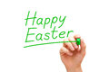 Happy easter green marker hand writing with isolated on white Stock Photos
