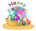 A happy easter greeting with a basket full of eggs illustration on white background Royalty Free Stock Photography