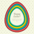 Happy Easter greeting card, banner or poster design template. Colorful paper background with Easter eggs frame.