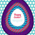 Happy Easter greeting card, banner or poster design template. Colorful paper with geometric textures background.
