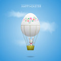Happy easter greeting card with bunny in the basket of egg balloon Royalty Free Stock Images