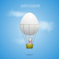Happy easter greeting card with bunny in the basket of egg balloon Stock Images
