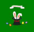Happy easter greeting card with bunny ears coming out of magic h hat and colored egg sample Stock Photography
