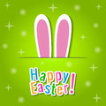 Happy easter greeting card with bunny ears over green background Royalty Free Stock Images