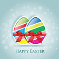 Happy easter greeting card colored eggs Stock Photo