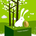 Happy easter greeting card cute white bunny with egg Stock Photography