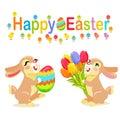 Happy Easter Greeting Card Design. Milk Bunnies