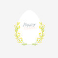 Happy Easter greeting card with flowers eggs and rabbit elements