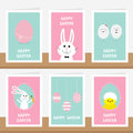 Happy Easter greeting card set on the shelf. Hanging painted egg on dash lin, bunny rabbit hare holding carrot. Chicken bird with Royalty Free Stock Photo